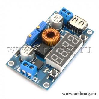 Мощный регулируемый понижающий преобразователь USB с LED дисплеем
