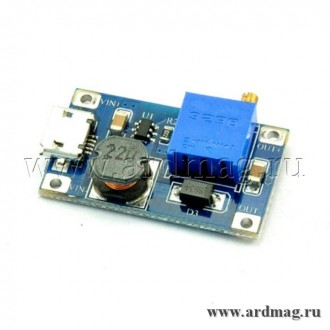 Регулируемый повышающий преобразователь Micro-USB 2-32В на 5-28В, 6Вт