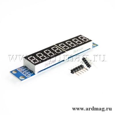 LED индикатор на MAX7219  2 х 4 цифры 7 сегментов