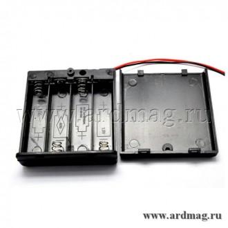 Батарейный отсек 4xAA с выключателем и крышкой, черный
