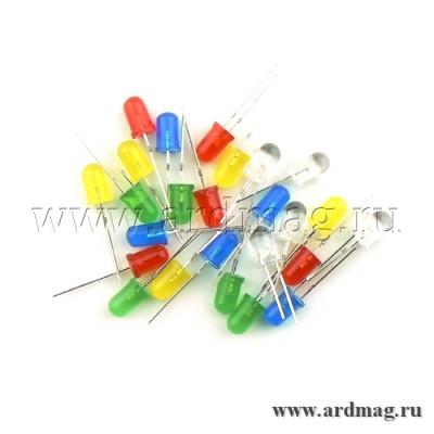 Набор светодиодов 5 цветов по 5 штук, 5 мм. (25 штук)
