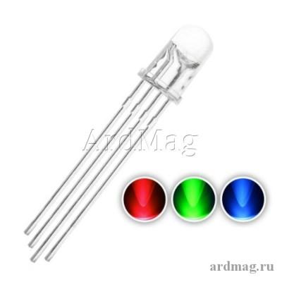 Светодиод RGB 5мм. яркий, общий катод