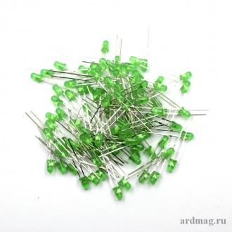 Светодиод 3мм., зеленый (100 штук)
