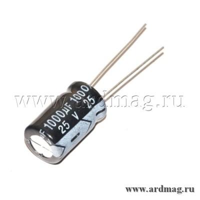 Конденсатор электролитический 25В/1000мкФ