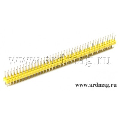 Двухрядный штыревый соединитель 2*40Pin, цвет желтый
