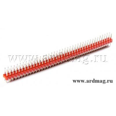 Двухрядный штыревый соединитель 2*40Pin, цвет красный