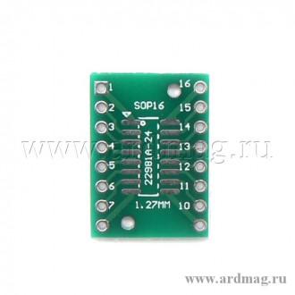 Переходная макетная плата SOP16 SSOP16 1.27/0.65мм.