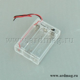 Батарейный отсек 3xAA с выключателем и крышкой, прозрачный