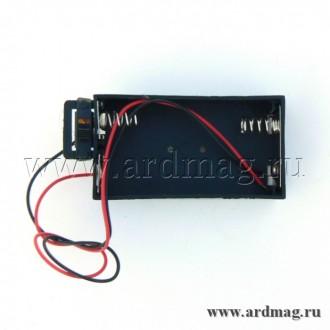 Батарейный отсек 2xAA с выключателем, черный
