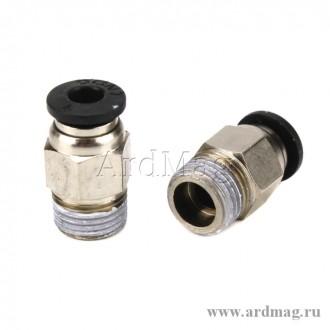 Фитинг PC4-M10 для тефлоновой трубки 4мм, никель