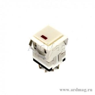 Кнопка с фиксацией с красным диодом KD2-21 (белый-белый)