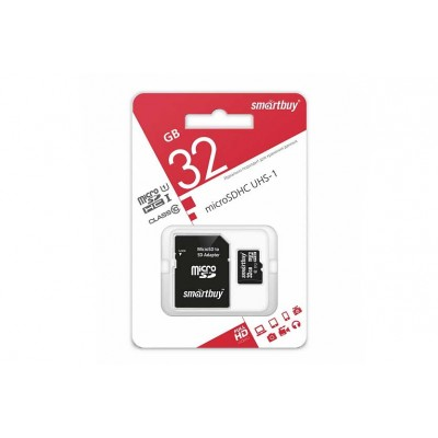 Карта памяти SmartBuy 32Gb microSDHC Class 10 + SD Адаптер